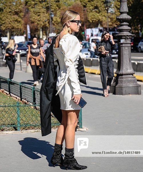 PARIS  France- September 27 2018: Celine Aagaard on the street during the Paris Fashion Week.