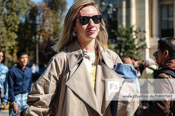 PARIS  France- September 27 2018: Lisa Aiken on the street during the Paris Fashion Week.
