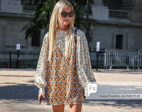 PARIS  France- September 27 2018: Thora Valdimars on the street during the Paris Fashion Week.
