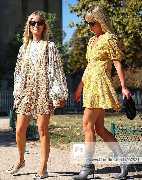 PARIS  France- September 27 2018: Thora Valdimars and Jeannette Madsen on the street during the Paris Fashion Week.