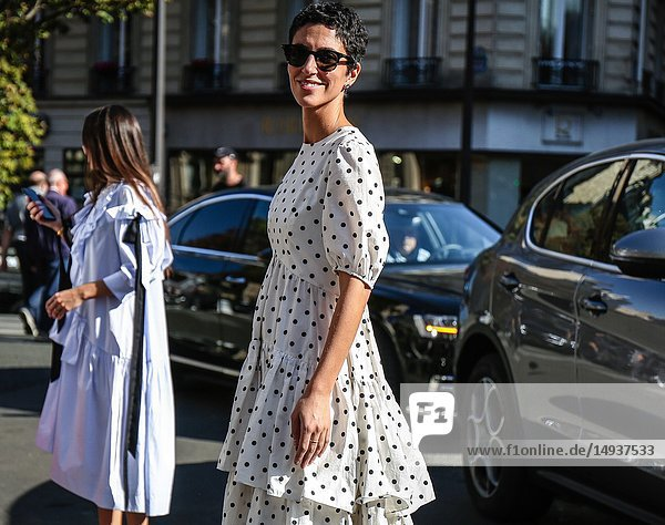 PARIS  France- September 27 2018: Yasmin Sewell on the street during the Paris Fashion Week.