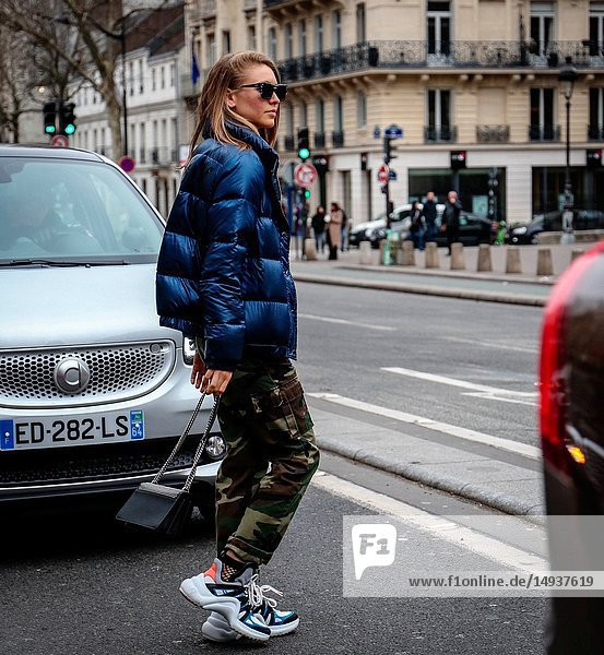 PARIS  France- March 3 2018: Jessica Minkoff on the street during the Paris Fashion Week.