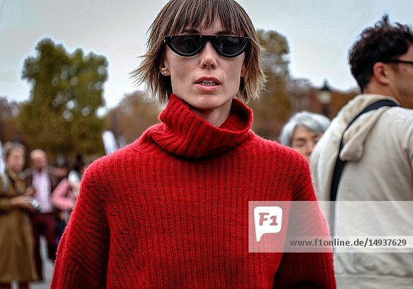 PARIS  France- October 2 2018: Anya Ziourova on the street during the Paris Fashion Week.