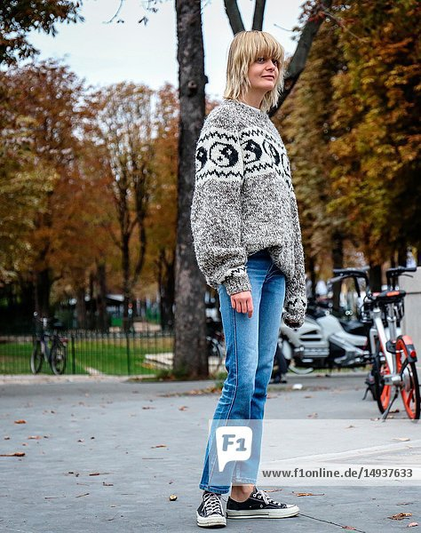 PARIS  France- October 2 2018: Caroline Schurch on the street during the Paris Fashion Week.