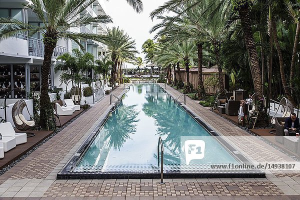 Florida  Miami Beach  Collins Avenue  National  hotel  swimming lap pool area cabanas