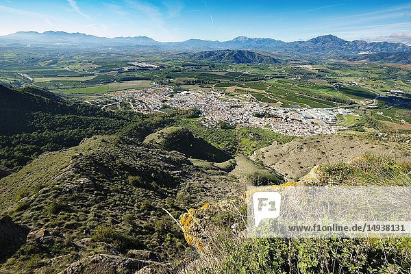 Panoramic view  town of Pizarra. Valle del Guadalhorce. Malaga province Costal del Sol. Andalusia  Southern Spain. Europe.