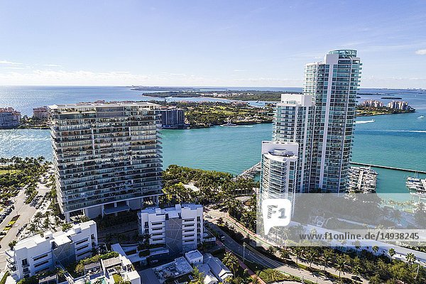 Florida  Miami Beach  aerial view  South Pointe  Murano Portofino  Apogee high rise condominium buildings  Biscayne Bay
