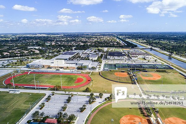 Florida  Weston  aerial view  Cypress Bay High School  Vista Park  track baseball diamonds