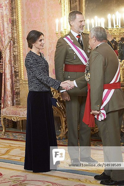 King Felipe VI of Spain  Queen Letizia of Spain attended the New Year's Military Parade at the Palacio Real on January 6  2019 in Madrid  Spain