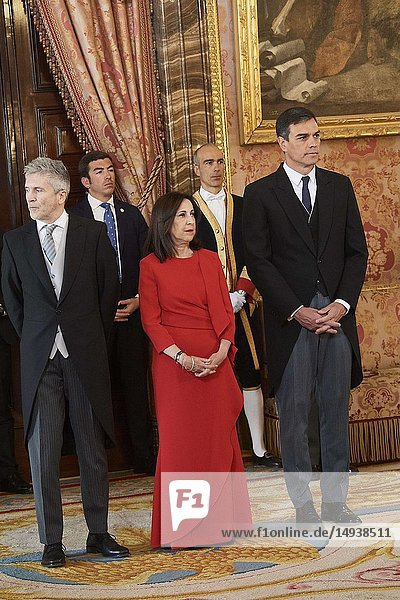 Pedro Sanchez  Prime Minister  Fernando Grande-Marlaska  Margarita Robles attended the New Year's Military Parade at the Palacio Real on January 6  2019 in Madrid  Spain