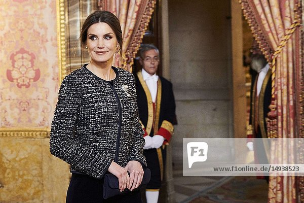 Queen Letizia of Spain attended the New Year's Military Parade at the Palacio Real on January 6  2019 in Madrid  Spain