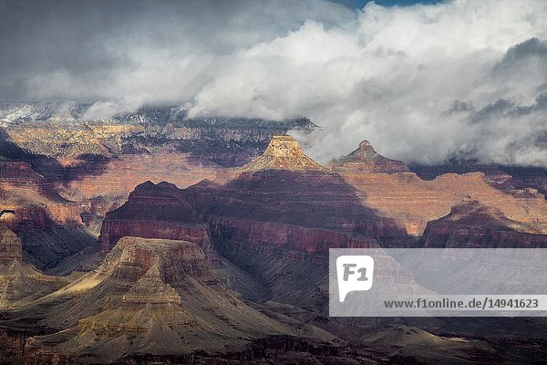 Rain and Snow showers move across the Grand Canyon at Grand Canyon National Park  Arizona.