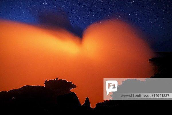 Erta Ale volcano at night. Danakil Depression desert in Ethiopia. Africa.