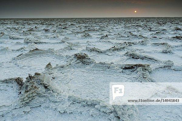 Sunrise. Salt lake  Dallol. Danakil depression  Afar Region  Ethiopia  Africa.