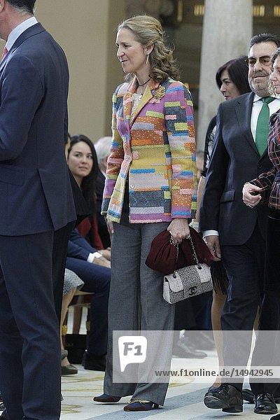 Princess Pilar de Borbon  Queen Letizia of Spain  King Felipe VI of Spain  King Juan Carlos of Spain  Queen Sofia of Spain and Princess Elena de Borbon attend National Sport Awards 2017 at El Pardo Royal Palace on January 10  2019 in Madrid  Spain.10/01/2019.