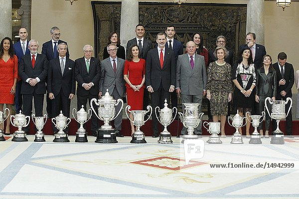 Princess Pilar de Borbon  Queen Letizia of Spain  King Felipe VI of Spain  King Juan Carlos of Spain  Queen Sofia of Spain and Princess Elena de Borbon attend National Sport Awards 2017 at El Pardo Royal Palace on January 10  2019 in Madrid  Spain.10/01/2019.