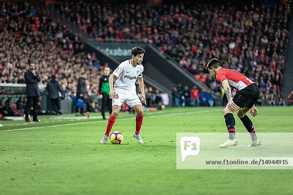 Jesus Navas  Sevilla player  in the Spanish League match between Athletic Club Bilbao and Sevilla FC at San Mames Stadium on January 13  2019 in Bilbao  Spain