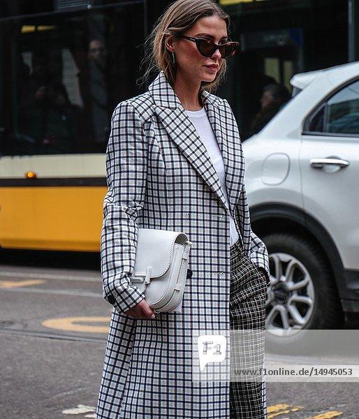 MILAN  Italy- February 22 2018: Women on the street during the Milan Fashion Week.