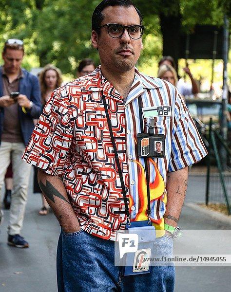 MILAN  Italy- September 20 2018: Men on the street during the Milan Fashion Week.