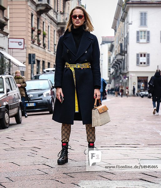 MILAN  Italy- February 24 2018: Women on the street during the Milan Fashion Week.