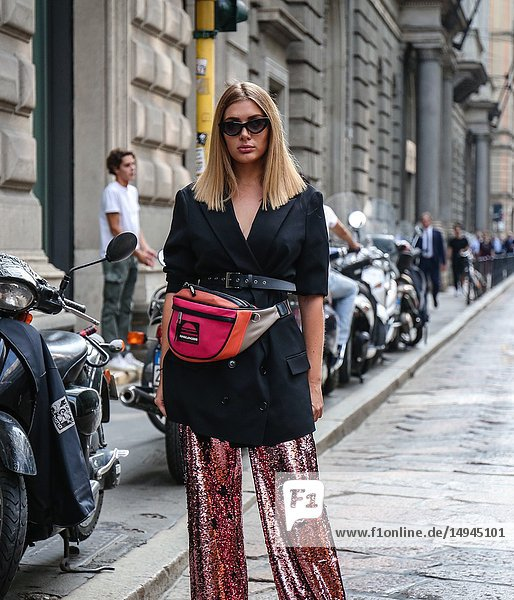 MILAN  Italy- September 20 2018: Women on the street during the Milan Fashion Week.