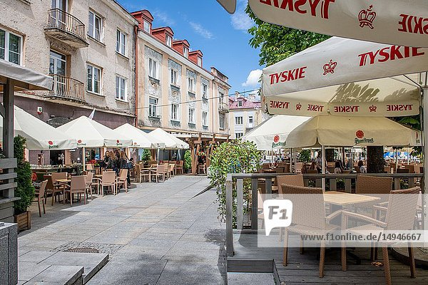 Outdoor seating at restaurants in Bialystok  Poland.