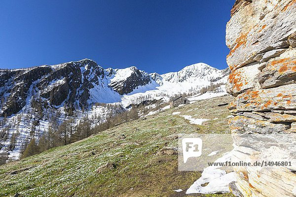 Snowy peaks  Casera di Olano  Valgerola  Valtellina  Sondrio province  Lombardy  Italy.