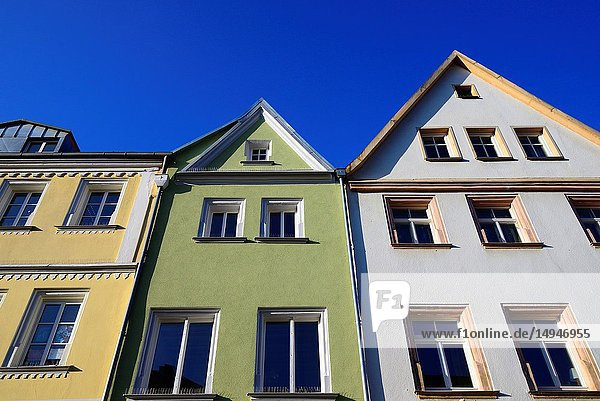 Facades of historic townhouses against blue sky  Maximilianstrasse - main touristic promenade in old town  Bayreuth  capital of Upper Franconia  Bavaria  Bayern  Germany  Europe
