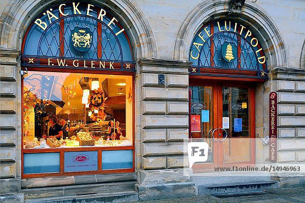 Historic bakery and confectionery shop  old town pedestrian zone  city of Bayreuth  capital of Upper Franconia  Bavaria   Bayern  Germany  Europe