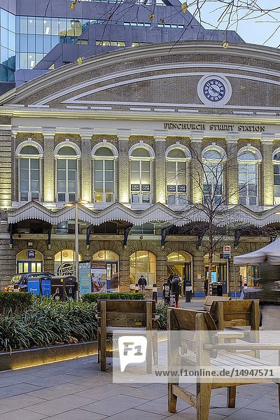 Main Entrance of Fenchurch Street Station on Fenchurch Place in the Financial District  City of London  England.