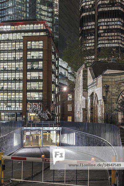 England  City of London  Undershaft  Underground parking  St. Helen's Church   amid modern ofice buildings  Bishopgate.