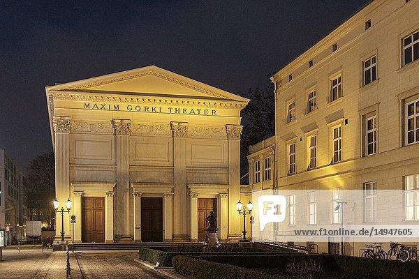 Germany  Berlin Mitte  Am Festungsgraben - Maxim Gorki Theater at night- a contemporary drama venue with a studio.