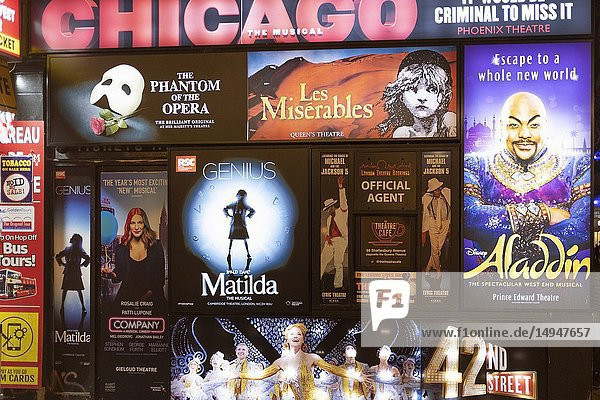 UK London West End- Theatre Box Office posters and Billboards.