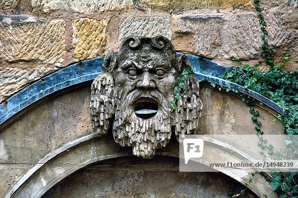 Fountain on backyard of Margravial Opera House  Münzgasse 2  historic part of Bayreuth  Upper Franconia  Bavaria  Bayern  Germany  Europe
