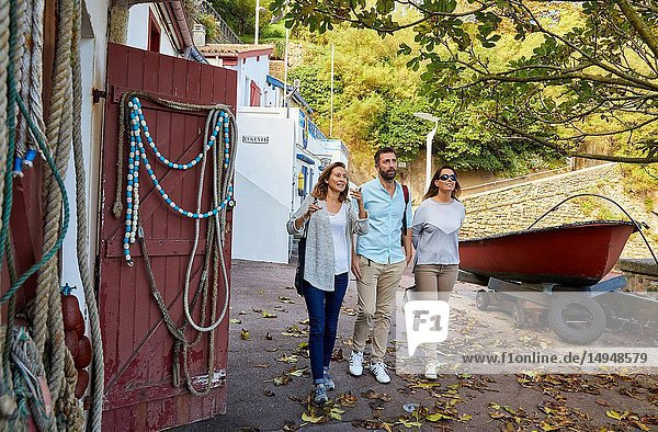 Guide with tourists,  Tour,  Port Vieux,  Biarritz,  Aquitaine,  Pyrenees Atlantiques,  France,  Europe