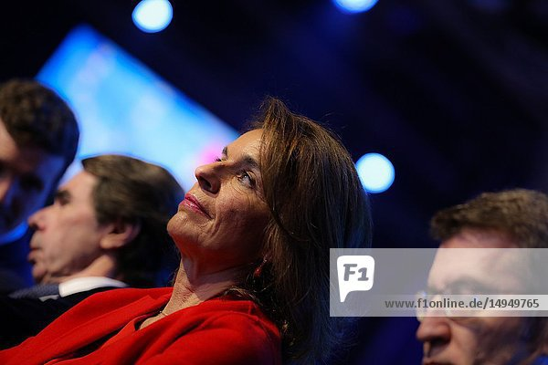 Ana Botella  mayor of Madrid between December 2011 and June 2015 and Jose Maria Aznar's wife attending the event. The PP celebrates its national convention to establish the main lines of its electoral program for the three elections scheduled for May 26 and are key to gauge the leadership of the popular president  Pablo Casado