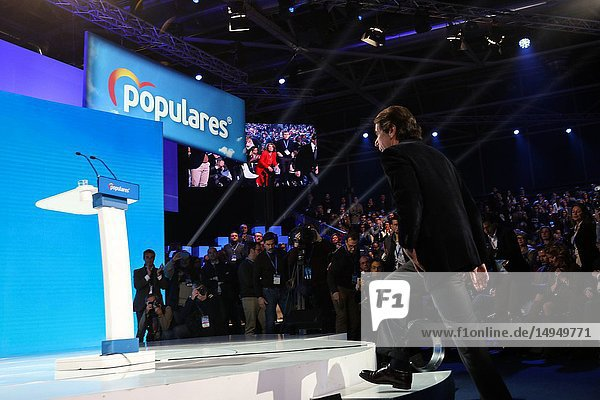 Jose Maria Aznar  ex-president of Spain going up to give the speech. The PP celebrates its national convention to establish the main lines of its electoral program for the three elections scheduled for May 26 and are key to gauge the leadership of the popular president  Pablo Casado