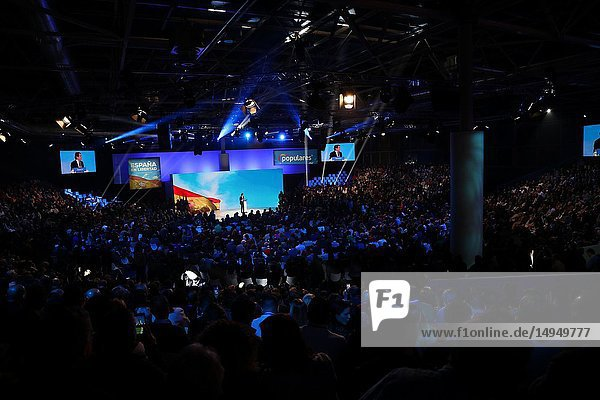 The audience listening to the speech of Jose Maria Aznar. The PP celebrates its national convention to establish the main lines of its electoral program for the three elections scheduled for May 26 and are key to gauge the leadership of the popular president  Pablo Casado