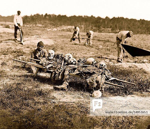 African Americans collecting bones of soldiers killed in the battle