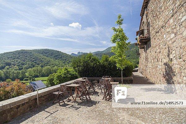 Village view in Garrotxa region Santa Pau Catalonia Spain.