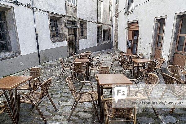 Street view with terrace bar in historic center of Santiago de Compostela  Galicia  Spain.