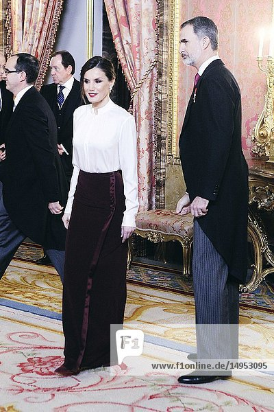 King Felipe VI of Spain  Queen Letizia of Spain attends the Foreign Ambassadors reception at The Royal Palace on January 22  2019 in Madrid  Spain.22/01/2019.