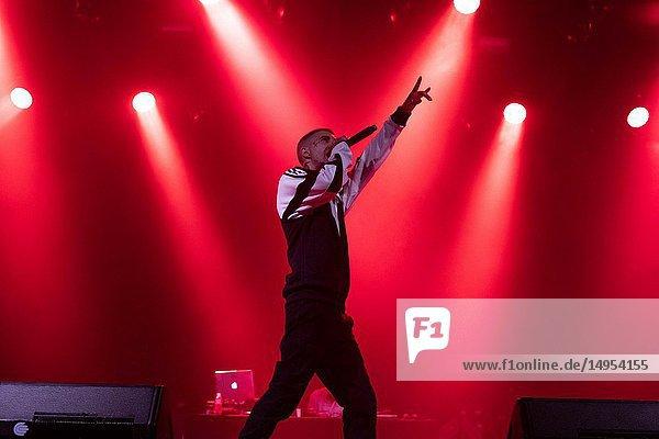 Denom  hip-hop / rap singer  performing at Fitur es Música  within the event of the FITUR International Tourism Fair Festivals.