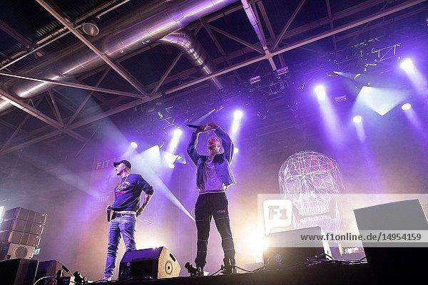 Natos y War  rap singers  performing at Fitur es Música  within the event of the FITUR International Tourism Fair Festivals.