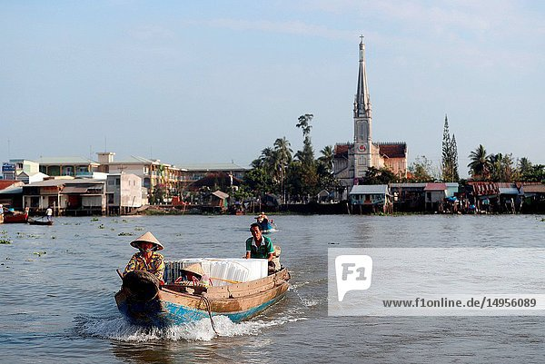 Mekong Delta. Mekong riverboat. Floating market. Cai Be. Vietnam.