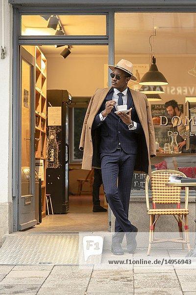 Man  coffee  suit  business  resting  break.