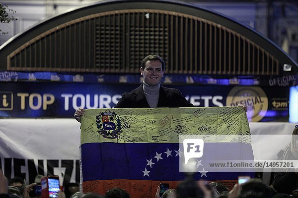 Albert Rivera  leader of the Ciudadanos (Cs) party attending in the Puerta del Sol in Madrid this afternoon hosted another demonstration in support of Juan Guaidó to express the recognition as interim president of Venezuela