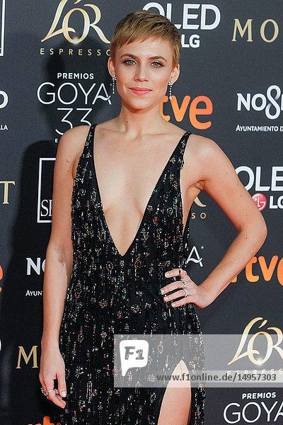 Aura Garrido attends the Spanish Cinema awards Goya 33rd edition at FIBE attends 33rd Goya Cinema Awards 2019 at Palacio de Congresos y Exposiciones FIBES on February 3  2019 in Sevilla  Spain.02/02/2019.