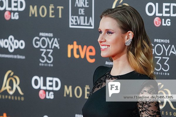 Manuela Belles attends the Spanish Cinema awards Goya 33rd edition at FIBE attends 33rd Goya Cinema Awards 2019 at Palacio de Congresos y Exposiciones FIBES on February 3  2019 in Sevilla  Spain.02/02/2019.