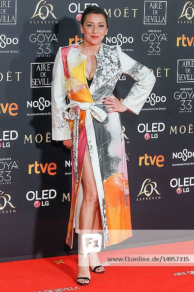 Mariola Fuentes attends the Spanish Cinema awards Goya 33rd edition at FIBE attends 33rd Goya Cinema Awards 2019 at Palacio de Congresos y Exposiciones FIBES on February 3  2019 in Sevilla  Spain.02/02/2019.